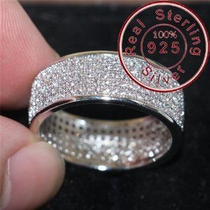 .925 SOLID STERLING SILVER WHite SApph RING Sz7